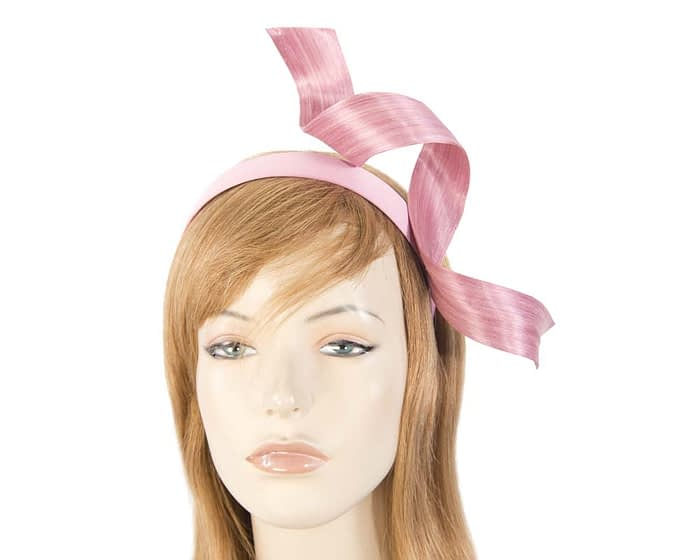 Dusty pink abaca twisted racing fascinator Fascinators.com.au