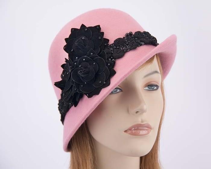 Pink felt laies bucket hat F573PI Fascinators.com.au