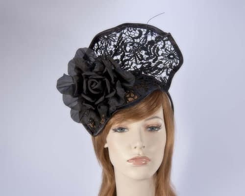 Black lace fascinator S115B Fascinators.com.au