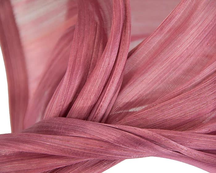 Twisted dusty pink silk abaca fascinator by Fillies Collection Fascinators.com.au S222 dusty pink closeup