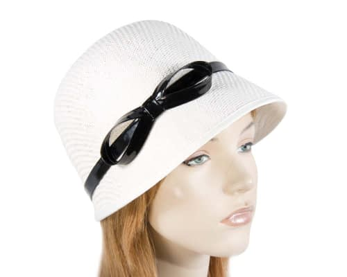 White cloche hat MA555W Fascinators.com.au