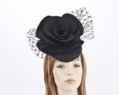 Black pillbox with large felt flower F581B Fascinators.com.au
