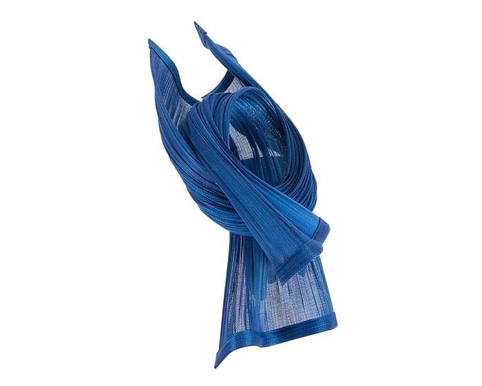 Bespoke royal blue jinsin waves racing fascinator by Fillies Collection Fascinators.com.au