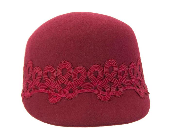 Burgundy wine felt fashion cap with lace Fascinators.com.au