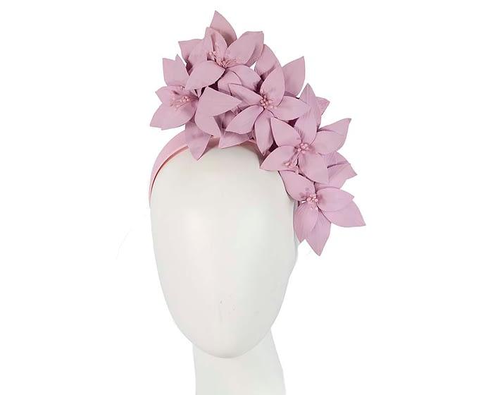 Lilac leather flower headband fascinator Fascinators.com.au