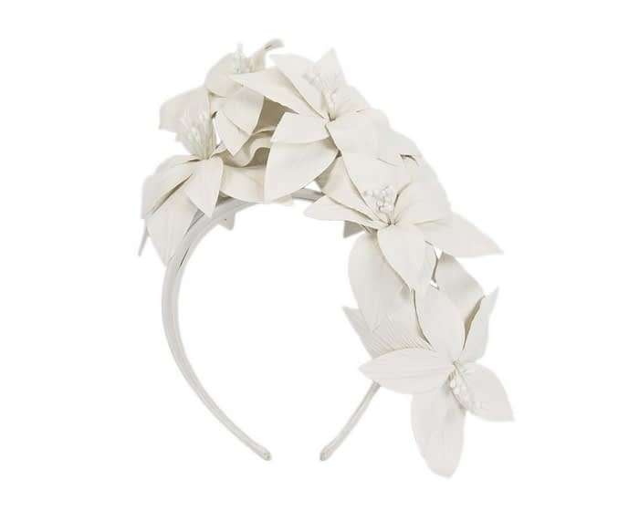 Cream leather flower headband fascinator Fascinators.com.au