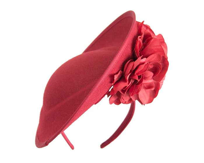 Large red fascinators with flowers by Fillies Collection Fascinators.com.au