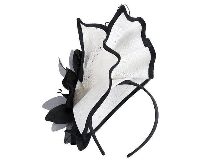 White & black racing fascinator with flower by Fillies Collection Fascinators.com.au