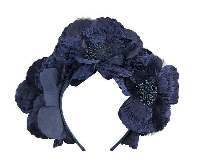 Navy flower halo Fascinators.com.au
