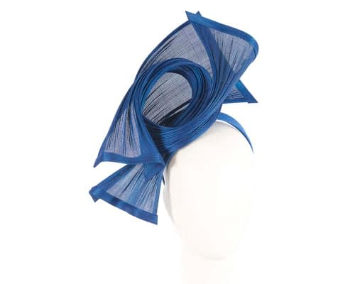 Bespoke royal blue jinsin waves racing fascinator by Fillies Collection Fascinators.com.au