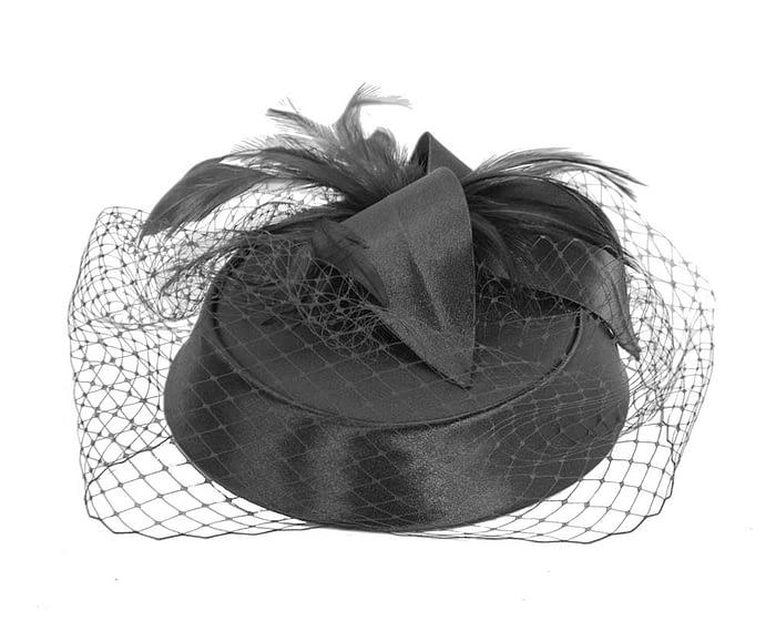 Black custom made pillbox hat Fascinators.com.au