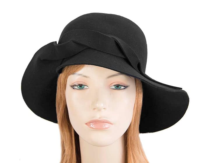 Unusual wide brim black felt hat by Max Alexander Fascinators.com.au
