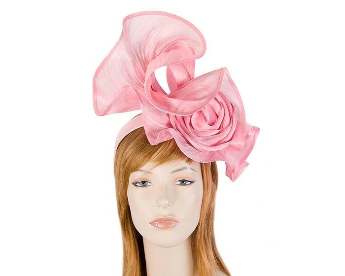 Exclusive pink silk abaca racing fascinator Fascinators.com.au