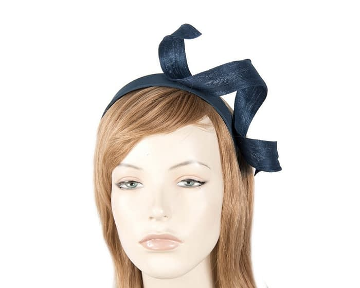 Navy abaca twisted racing fascinator Fascinators.com.au