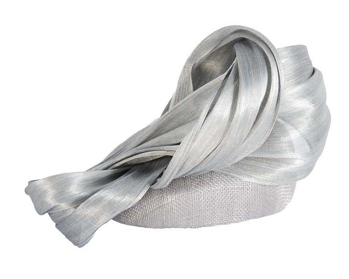 Silver pillbox silk abaca bow Fascinators.com.au