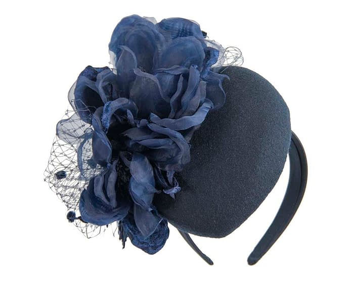 Navy winter pillbox fascinator with flower by Fillies Collection Fascinators.com.au