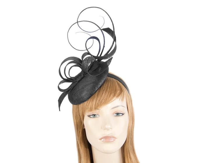 Tall black racing fascinator by Max Alexander Fascinators.com.au