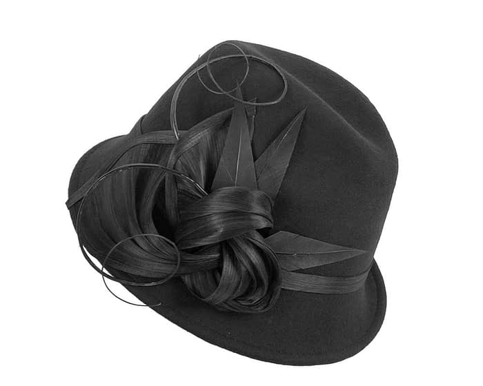 Black ladies felt trilby hat by Fillies Collection Fascinators.com.au