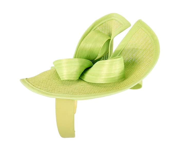 Lime green designers racing fascinator with bow by Fillies Collection Fascinators.com.au