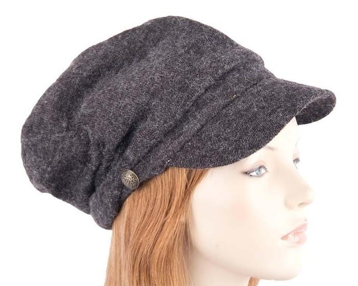 Charcoal beret J266C Fascinators.com.au