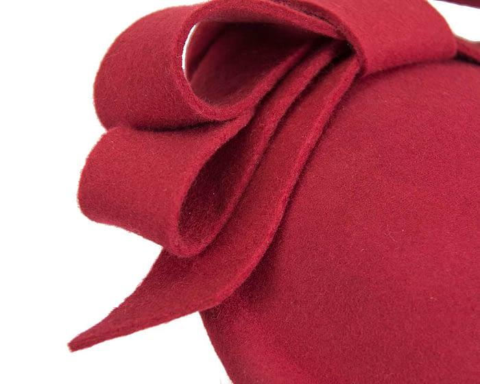 Red winter felt fascinator hat by Fillies Collection Fascinators.com.au