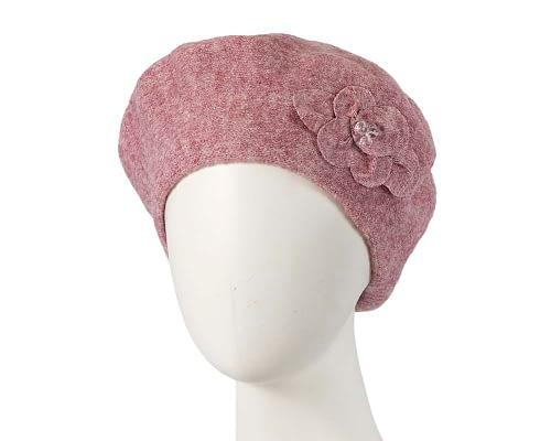 Warm dusty pink wool beret. Made in Europe Fascinators.com.au