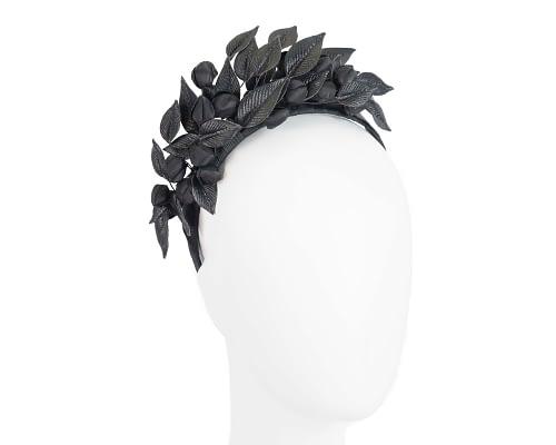 Black leather flower racing fascinator by Max Alexander Fascinators.com.au