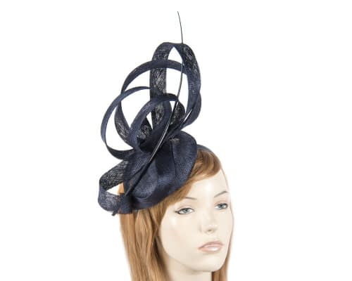 Tall navy racing fascinator Fascinators.com.au
