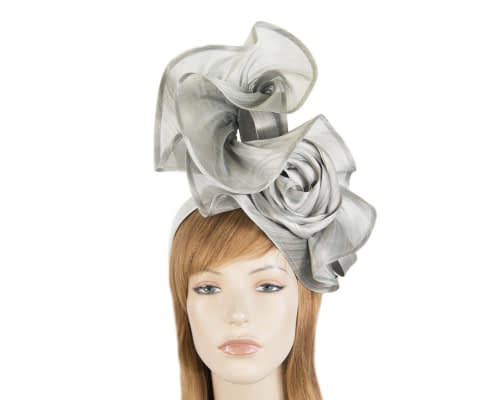 Exclusive silver silk abaca racing fascinator Fascinators.com.au
