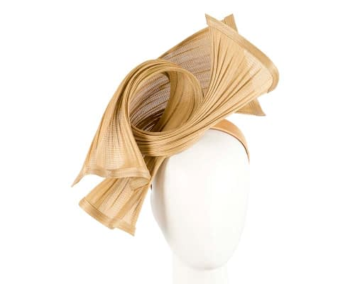 Bespoke mustard jinsin waves racing fascinator by Fillies Collection Fascinators.com.au