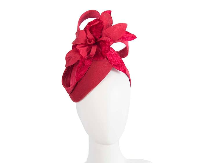 Bespoke red pillbox winter fascinator with flower by Fillies Collection Fascinators.com.au