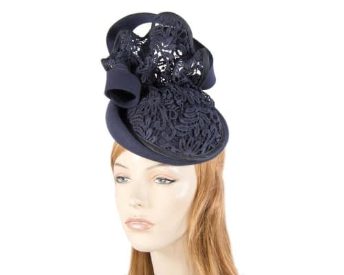 Navy felt fascinator with lace Fascinators.com.au