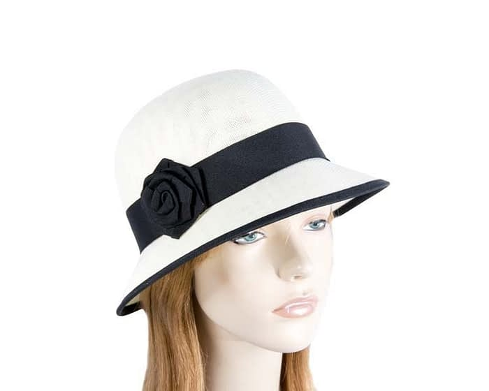 Cream & black spring racing cloche hat Fascinators.com.au