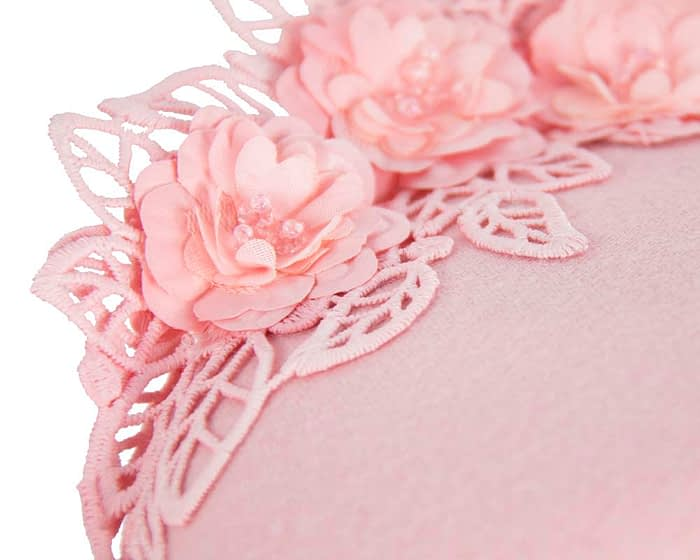 Pink lace winter pillbox fascinator Fascinators.com.au