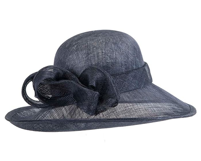 Wide brim navy sinamay racing hat by Max Alexander Fascinators.com.au