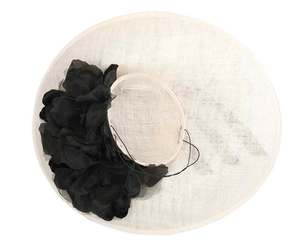 Black Cream Feather Flower Racing Fascinator - Fascinators