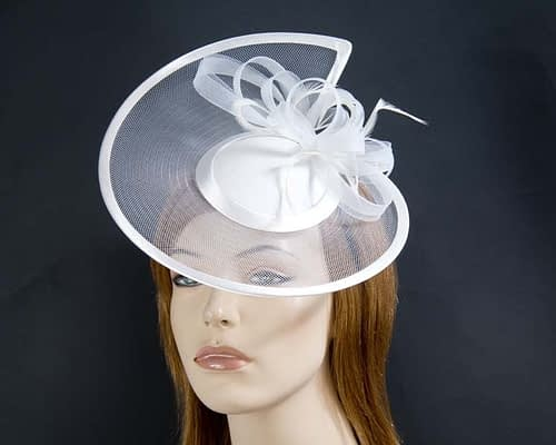 White cocktail hats K4806W Fascinators.com.au