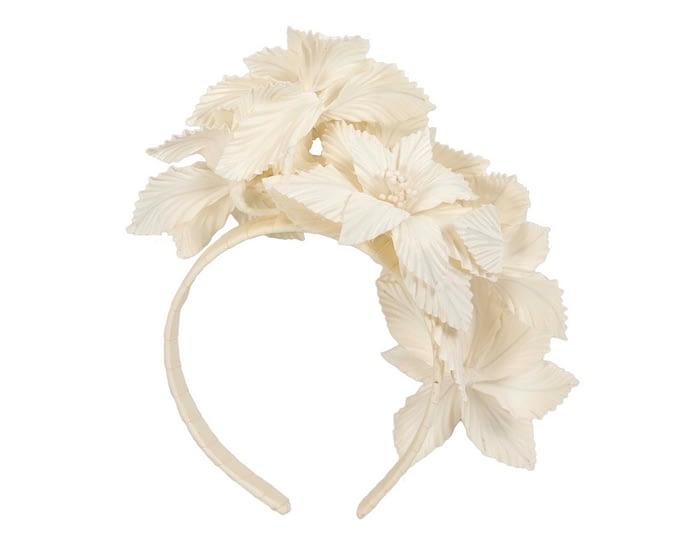 Cream 3D flower headband fascinator Fascinators.com.au
