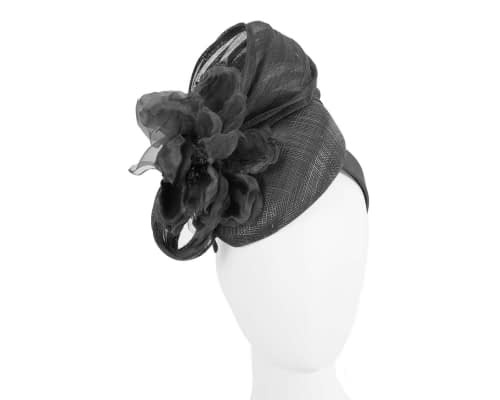 Black flower pillbox racing fascinator by Fillies Collection Fascinators.com.au