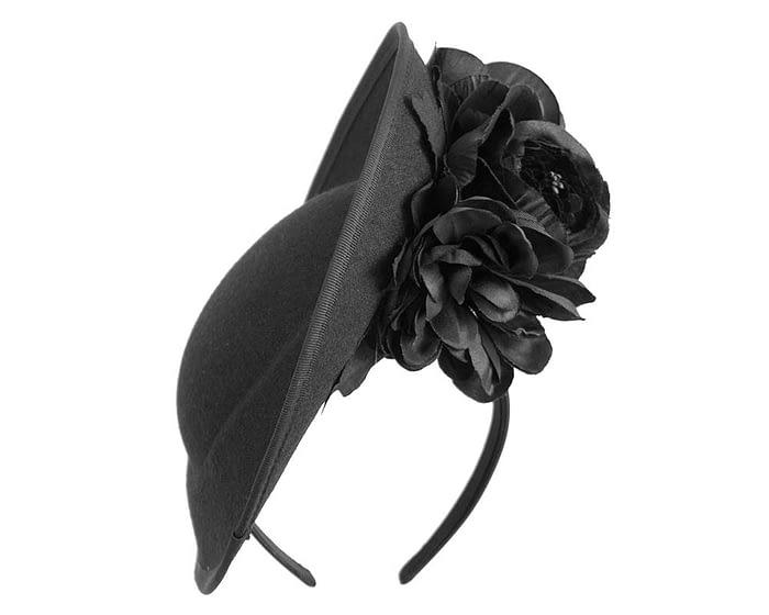 Large black fascinators with flowers by Fillies Collection Fascinators.com.au