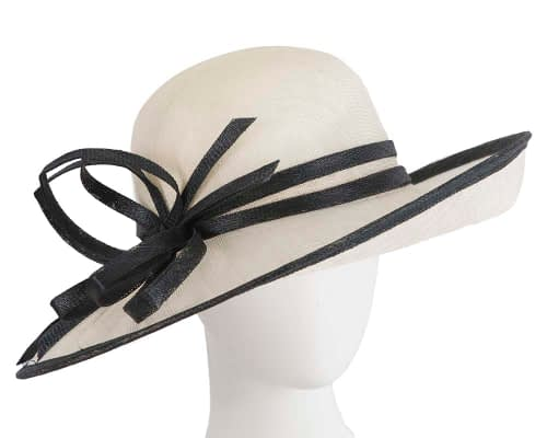 Wide brim cream & black racing hat by Max Alexander Fascinators.com.au