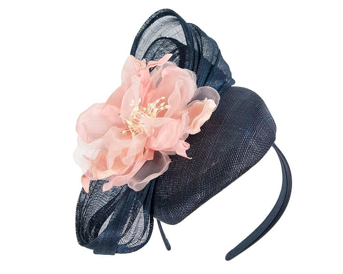 Navy and pink flower pillbox racing fascinator by Fillies Collection Fascinators.com.au