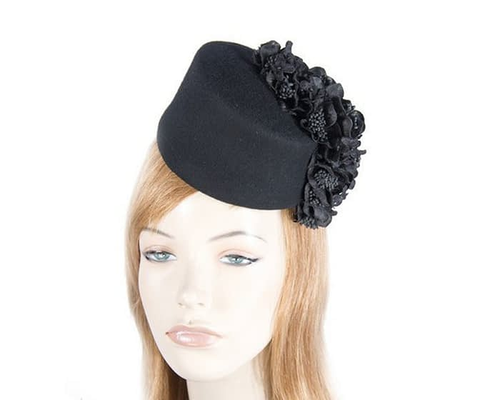 Black felt fascinator with cascade of flowers Fascinators.com.au
