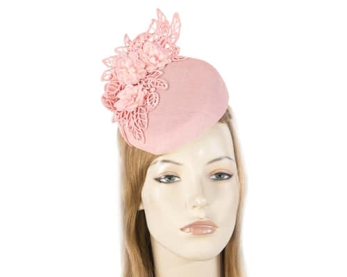 Pink lace pillbox fascinator Fascinators.com.au