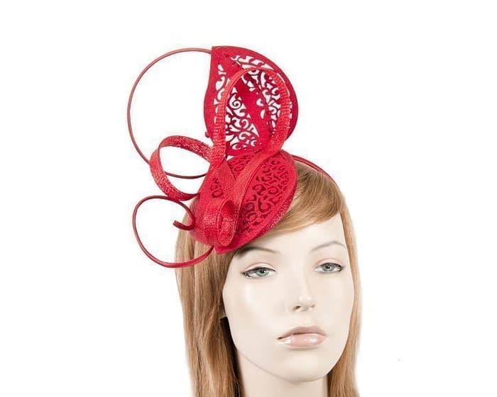 Modern red racing fascinator for Melbourne Cup by Max Alexander Fascinators.com.au