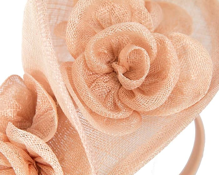 Nude sinamay fascinator on headband by Max Alexander Fascinators.com.au