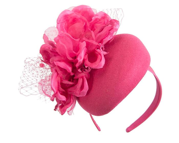 Fuchsia winter pillbox fascinator with flower by Fillies Collection Fascinators.com.au