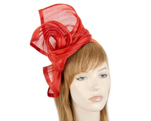 Twisted orange silk abaca fascinator by Fillies Collection Fascinators.com.au