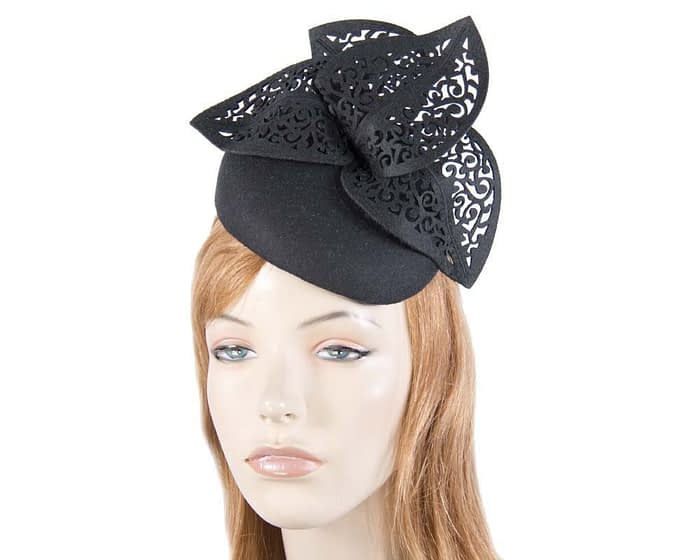 Black pillbox with laser cut trim Fascinators.com.au
