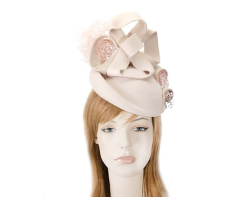 Bespoke nude felt winter racing fascinator Fascinators.com.au